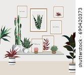tropical house plants   Shutterstock .eps vector #690420373