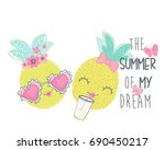 cute pineapple vector graphic | Shutterstock .eps vector #690450217