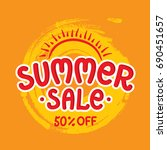 hand drawn summer sale on... | Shutterstock .eps vector #690451657