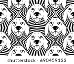 seamless pattern with dogs.... | Shutterstock .eps vector #690459133