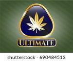 gold badge with marijuana leaf ... | Shutterstock .eps vector #690484513