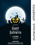 template for halloween party. a ... | Shutterstock .eps vector #690489553