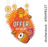 indian religious festival durga ... | Shutterstock .eps vector #690498127