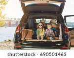 travel by car family trip... | Shutterstock . vector #690501463