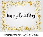 happy birthday hand draw in... | Shutterstock .eps vector #690519583