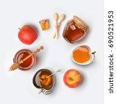 jewish holiday rosh hashana... | Shutterstock . vector #690521953