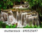 huay mae kamin waterfall in... | Shutterstock . vector #690525697