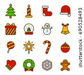 christmas icon with flat color | Shutterstock .eps vector #690528493