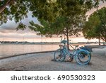 vintage blue bicycle decorated... | Shutterstock . vector #690530323