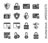 secure payment icon set.... | Shutterstock .eps vector #690531073