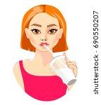 beautiful girl drinking. vector ... | Shutterstock .eps vector #690550207