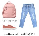 outfit of casual woman. jeans ... | Shutterstock . vector #690551443