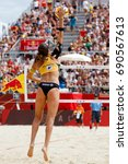Small photo of Vienna, Austria - August 5, 2017. GOLD MEDAL MATCH - WOMEN between Laura LUDWIG, Kira WALKENHORST (GER) and Lauren FENDRICK, April ROSS (USA) at FIVB Beach Volleyball World Championships in Vienna.