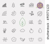 nature line icon set | Shutterstock .eps vector #690571123