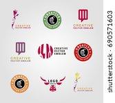 vector set of restaurant logo...   Shutterstock .eps vector #690571603