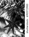 Small photo of X-MAS tree decorations in black & white