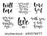set of love romantic lettering... | Shutterstock . vector #690578977