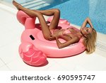 fashion outdoor photo of... | Shutterstock . vector #690595747