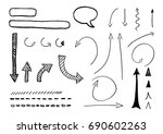 black arrows  arrowhead and... | Shutterstock .eps vector #690602263