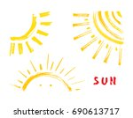 sun paint brush strokes vector... | Shutterstock .eps vector #690613717