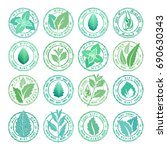 mint leaves badges  stamps and... | Shutterstock .eps vector #690630343