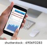 work hard data analytics... | Shutterstock . vector #690693283