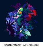 afro american jazz singer on... | Shutterstock .eps vector #690703303