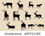 set of deers silhouettes in... | Shutterstock .eps vector #690721183
