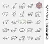 animals line icons set | Shutterstock .eps vector #690723643