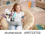 young woman using laptop for... | Shutterstock . vector #690723733