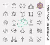religion line icon set | Shutterstock .eps vector #690724027