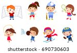 group of sport children | Shutterstock .eps vector #690730603