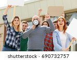 group of protesting young... | Shutterstock . vector #690732757