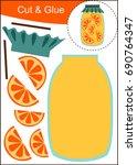 cut and paste worksheet  orange ...   Shutterstock .eps vector #690764347