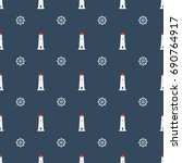 nautical seamless pattern with... | Shutterstock .eps vector #690764917