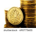 Pound Gbp Coin And Gold Money...
