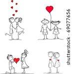 set lovers boys and girls hand... | Shutterstock .eps vector #69077656