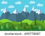 panoramic mountain cartoon... | Shutterstock . vector #690778087