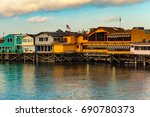 old fisherman's wharf monterey... | Shutterstock . vector #690780373