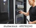 it engineer installing hard... | Shutterstock . vector #690781243