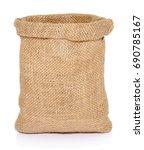empty burlap sack bag isolated... | Shutterstock . vector #690785167