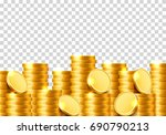 a lot of coins on a transparent ... | Shutterstock .eps vector #690790213