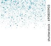 Blue Confetti Stars. Scatter...