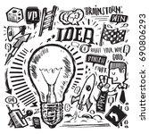 idea concept present by doodle... | Shutterstock .eps vector #690806293