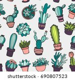 seamless pattern with cactus | Shutterstock .eps vector #690807523