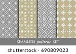 set of 4 seamless geometric...   Shutterstock .eps vector #690809023
