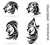 lion set  on white background ... | Shutterstock .eps vector #690814963