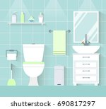 interior toilet in a flat style....   Shutterstock .eps vector #690817297