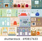 A set of different interiors. Vector illustration in a flat style. Residential premises for various purposes. | Shutterstock vector #690817633