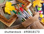 paints and paint brushes | Shutterstock . vector #690818173
